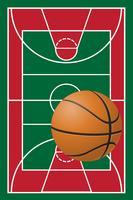 quadra de basquete e bola vetor