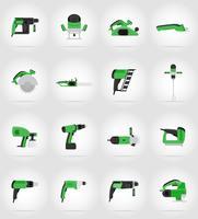 ferramentas elétricas para ilustração em vetor ícones plana construção e reparação