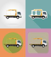 caminhão de reboque para falhas de transporte e ilustração em vetor ícones plana carros de emergência