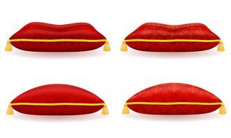 veludo vermelho e ilustração vetorial de travesseiro de cetim