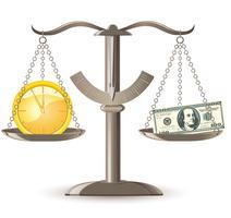 escalas escolha tempo dinheiro vetor