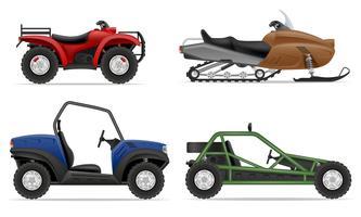 defina ícones atv automóvel fora ilustração vetorial de estradas vetor