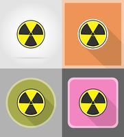 sinal de ilustração em vetor ícones plana de radiação