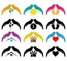 conceito de proteção e amor mãos e ilustração vetorial de cuidados