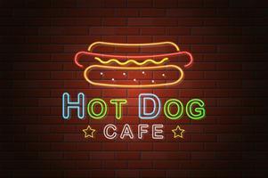ilustração em vetor café hotdog tabuleta de néon brilhante