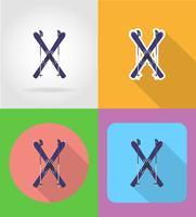 esqui e varas ilustração em vetor ícones plana