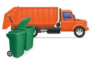 ilustração em vetor conceito caminhão carga lixo remoção