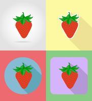 frutas morangos planas conjunto de ícones com a ilustração do vetor de sombra