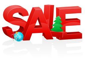 natal e ano novo volumétrico vermelho inscrição venda ilustração em vetor