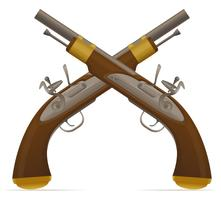 antiga ilustração de vetor de pistola de pederneira retrô
