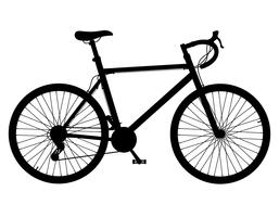 bicicleta de estrada com ilustração em vetor silhueta negra deslocando engrenagem