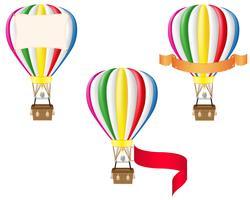 balão de ar quente e ilustração em vetor banner em branco