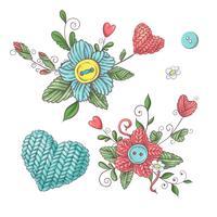Conjunto para flores de malha artesanal e elementos e acessórios para crochê e tricô.