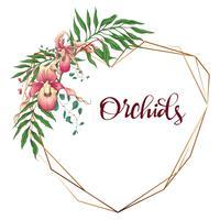 Quadro geométrico design floral. Orquídea, eucalipto, vegetação. Cartão de casamento.