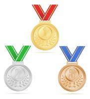 medalha vencedor esporte ouro prata bronze estoque ilustração vetorial vetor