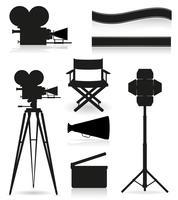 conjunto de ícones silhueta cinematografia cinema e filme ilustração vetorial