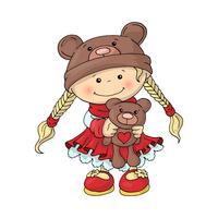 Uma menina bonitinha em um chapéu de urso de pelúcia em um vestido vermelho inteligente, com um ursinho de pelúcia nas mãos dela. vetor