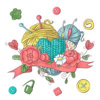 Conjunto para modelo de logotipo artesanal, elementos e acessórios para crochê e tricô.