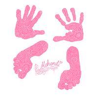 Impressão das palmas das mãos e dos pés das crianças. Mehendi set. vetor
