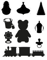 ícone de brinquedos e acessórios para bebês e crianças silhueta negra