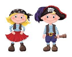 bonito conjunto de piratas de crianças vetor