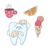 Arte sobre o tema da odontologia infantil. Dente bonito dos desenhos animados sensível ao quente, frio e doce.