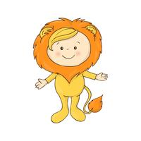 ilustração de bebê fofo em um vetor de traje de fantasia de leão em fundo branco