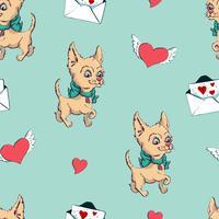 padrão sem emenda com cães, padrão infantil com cães, vetor impressão de tecido têxtil, papel de embrulho.