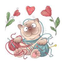 Conjunto para gato artesanal com bolas de fio, elementos e acessórios para crochê e tricô.