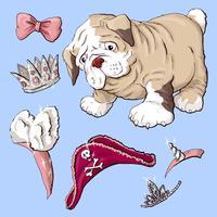 Cão de cachorrinho feliz dos desenhos animados, retrato do colar vestindo bonito do cão pequeno.