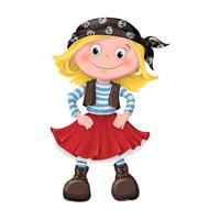 linda garota de crianças piratas vetor