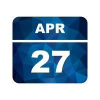 Data de 27 de abril em um calendário de dia único