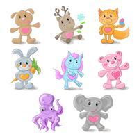 Conjunto de animais fofos cão, veado, raposa, coelho, pônei, ursinho de pelúcia, elefante, animal marinho.