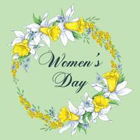 8 de março modelo de cartão de dia das mulheres s. Figura verde azul surpreendente oito. Vetor.