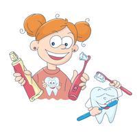 Vetorial, ilustração, de, um, menininha, escovar, dela, dentes