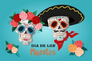 Cartaz de convite para o dia do partido morto. Cartão de los muertos com esqueleto e rosas.