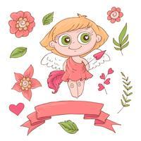 Conjunto de anjos bonito dos desenhos animados para o dia dos namorados com acessórios