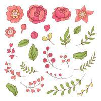Conjunto de desenhos animados bonitos flores e folhas para o dia dos namorados com acessórios.