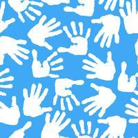Impressão das palmas das mãos e dos pés das crianças. Padrão sem emenda vetor