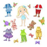 Vista uma boneca fofa com conjuntos de roupas com acessórios e brinquedos. vetor
