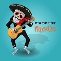 Cartaz de convite para o dia do partido morto. Cartão de los muertos com esqueleto tocando guitarra.