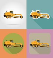 motoniveladora para obras rodoviárias planas ícones vector illustration