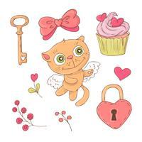 Conjunto de gato bonito dos desenhos animados para o dia dos namorados com acessórios. vetor