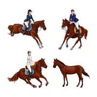Mulher, menina, montando, cavalos, jogo, isolated. Passeio do horseback do treinamento do esporte equestre da família.