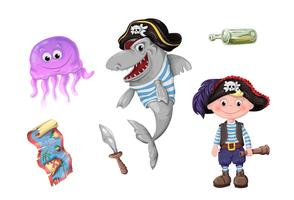 Conjunto de crianças engraçadas dos desenhos animados engraçados de piratas e habitantes do mar.