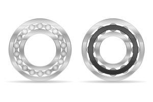 bola de metal e ilustração vetorial de rolamento de rolos