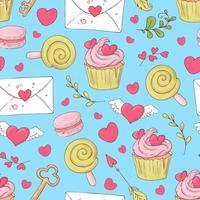 São Valentim s dia sem costura padrão com cupcakes. Ilustração vetorial