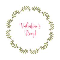 Mão desenhada vector frame redondo com elementos florais, ervas, folhas, flores, galhos, galhos