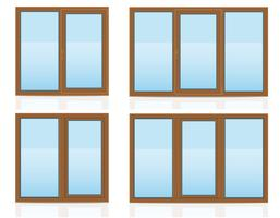 vista de janela transparente plástico marrom dentro de casa e ilustração vetorial de ar livre