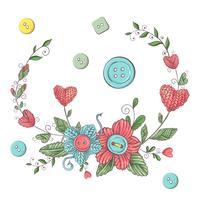Ilustração simples com agulha de tricô, tricô e texto em inglês. Eu amo tricô, design de cartaz. Fundo colorido